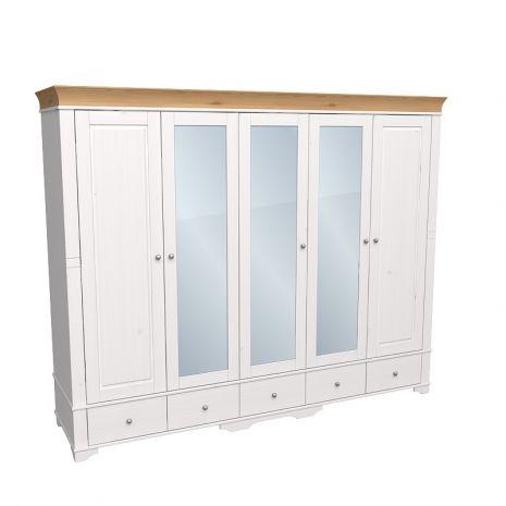 Шкаф 5 дверный с 2 глухими дверями и 3 зеркальными дверью Бейли белый воск-антик