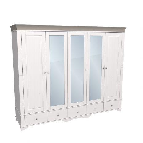 Шкаф 5 дверный с 2 глухими дверями и 3 зеркальными дверью Бейли белый воск-антрацит