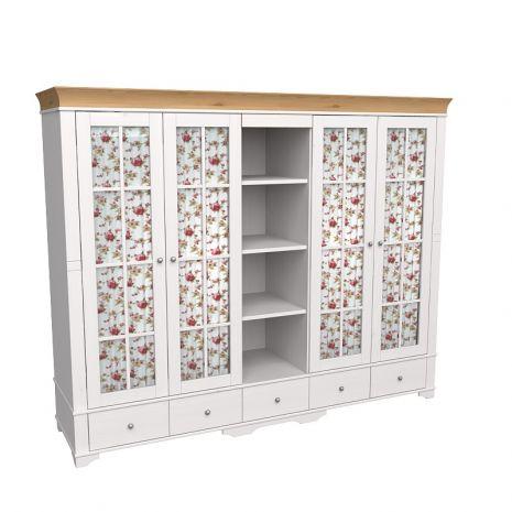 Шкаф 5 дверный с 4 стеклянными дверями и полками Бейли белый воск-антик
