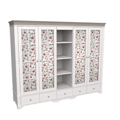 Шкаф 5 дверный с 4 стеклянными дверями и полками Бейли белый воск-антрацит