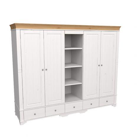 Шкаф 5 дверный с 4 глухими дверями и полками Бейли белый воск-антик