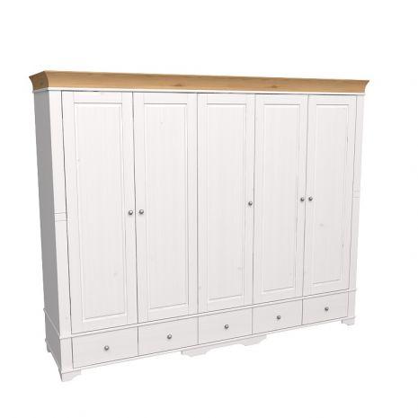 Шкаф 5 дверный с глухими дверями Бейли белый воск-антик