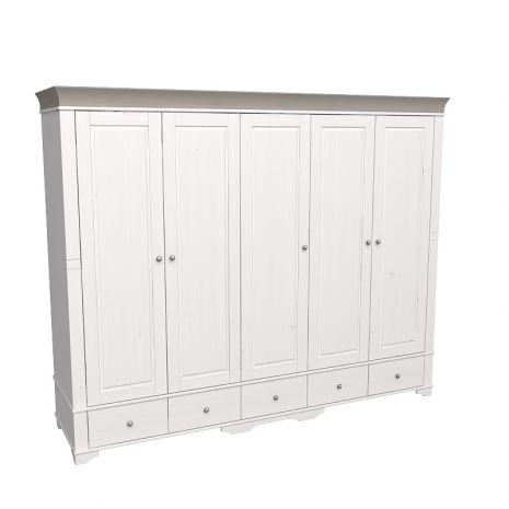 Шкаф 5 дверный с глухими дверями Бейли белый воск-антрацит