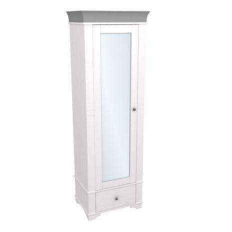 Шкаф 1-дверный с зеркалом Бейли белый воск-антрацит