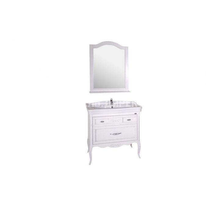 Комплект мебели для ванной Модерн 85 Патина серебро