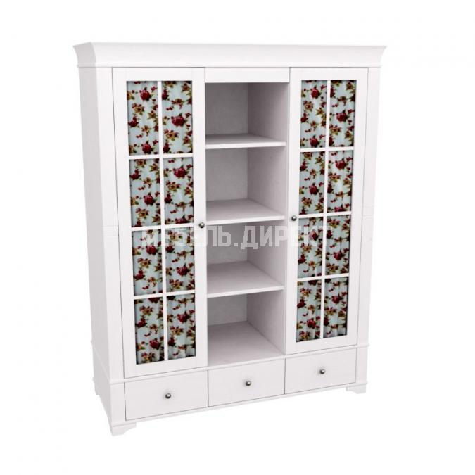 Шкаф с 2-мя стеклянными дверями и полками Бейли