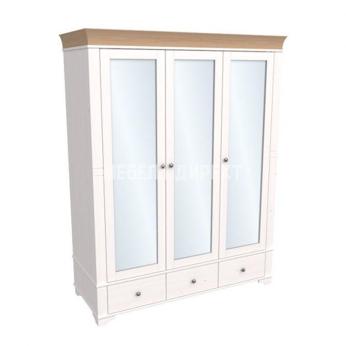 Шкаф 3х дверный с зеркальными дверями Бейли белый воск-антик