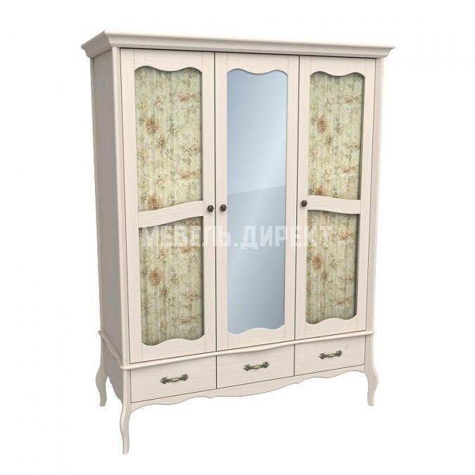 Шкаф 3х дверный с двумя стеклянными дверями и зеркалом Лебо