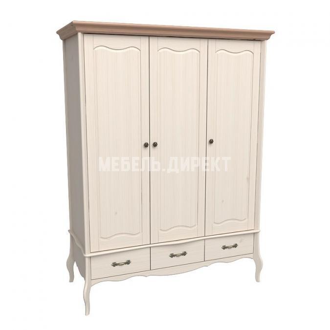 Шкаф 3х дверный с глухими дверями Лебо (бежевый воск-антик)
