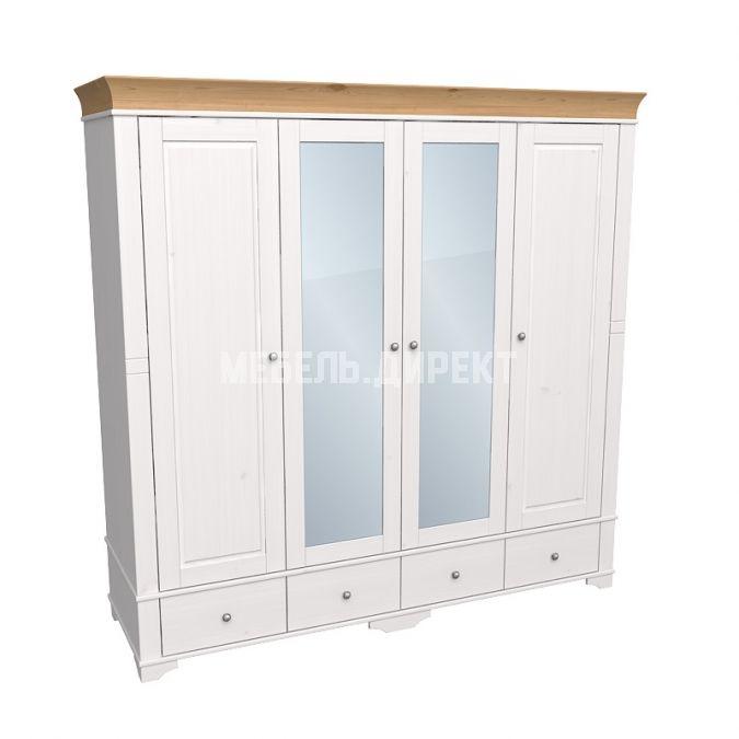 Шкаф 4х дверный с 2 зеркальными и 2 глухими дверями Бейли белый воск-антик